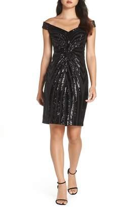 Vince Camuto Sequin Embellished Off the Shoulder Dress