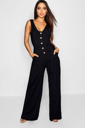 boohoo Horn Button Rib Tie Belt Pocket Jumpsuit