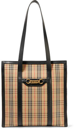 Burberry Embellished Leather-trimmed Checked Cotton-drill Tote - Beige