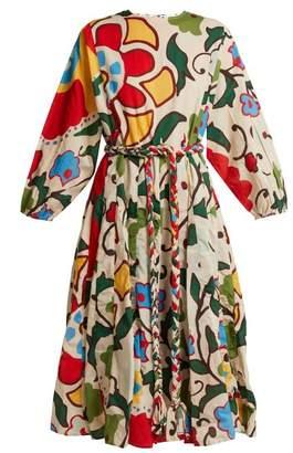 Rhode Resort - Devi Floral Print Cotton Midi Dress - Womens - White Print
