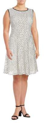 Gabby Skye Plus Polka Dots A-Line Dress