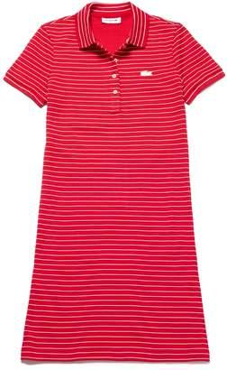 Lacoste Women's Slim Fit Striped Stretch Mini Cotton Pique Polo Dress