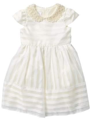 Iris & Ivy Faux Pearl Embellished Shadow Stripe Dress (Little Girls)