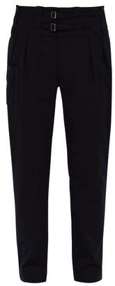 Dolce & Gabbana High Waisted Stretch Cotton Twill Trousers - Mens - Navy