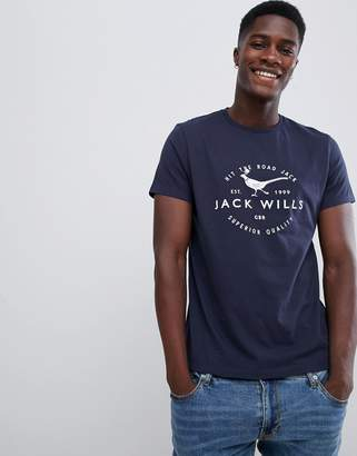 Jack Wills Baysglass large pheasant logo t-shirt in navy