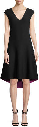 Milly V-Neck Cap-Sleeve Contrast Knit Fit-and-Flare Dress
