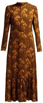Borgo de Nor Rafaela Orchid And Leopard Print Crepe Midi Dress - Womens - Leopard