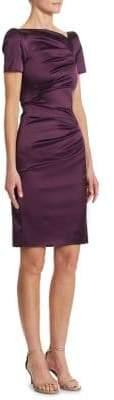 Talbot Runhof Satin Ruched Dress