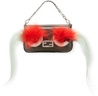 Fendi Baguette Micro Bag Bugs Crossbody Bag, Black/Red