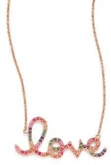 Sydney Evan Large Rainbow Love Ruby, Sapphire, Emerald& 14K Rose Gold Necklace