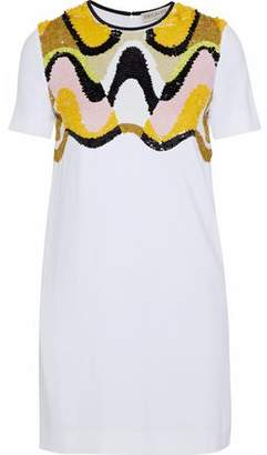 Emilio Pucci Sequined Mesh-paneled Cady Mini Dress