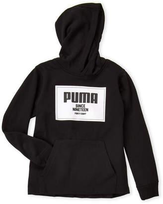 Puma Boys 8-20) Black Logo Fleece Hoodie