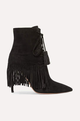 Aquazzura Mustang 105 Fringed Suede Ankle Boots - Black