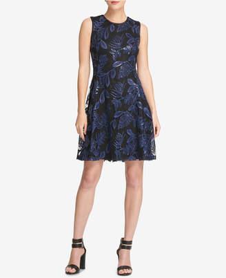 DKNY Lace Fit & Flare Dress