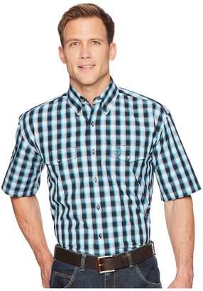 Wrangler George Strait Short Sleeve Two-Pocket Plaid Men's Short Sleeve Button Up