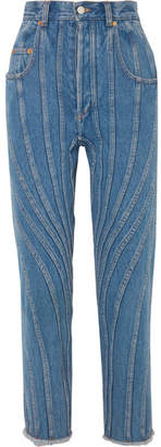 Thierry Mugler Paneled High-rise Straight-leg Jeans - Mid denim