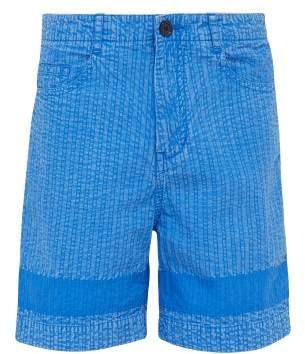 Craig Green Cut Out Pocket Cotton Shorts - Mens - Blue