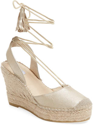 Elorie Leather Ankle-Wrap Wedge