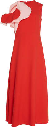 DELPOZO Ruffled Color-Block Midi Dress