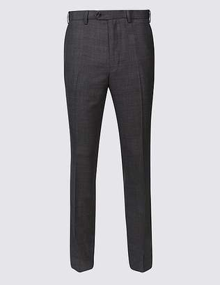 Marks and Spencer Slim Fit Wool Blend Flat Front Trousers