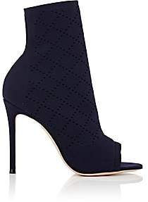 Gianvito Rossi Women's Perforated Knit Ankle Boots - Denim