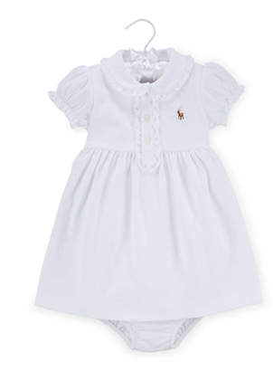 Ralph Lauren Childrenswear Cap-Sleeve Pima Polo Dress w/ Bloomers, Size 9-24 Months