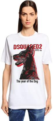 DSQUARED2 Doberman Printed Cotton Jersey T-Shirt