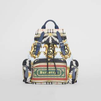 Burberry The Medium Rucksack in Archive Scarf Print, Blue