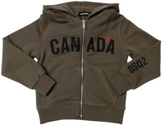 DSQUARED2 Canada Hooded Zip-Up Cotton Sweatshirt