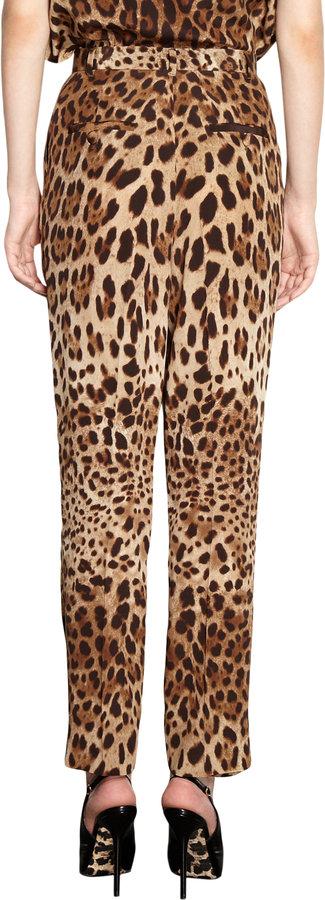 Dolce & Gabbana Pleated Leopard Trousers