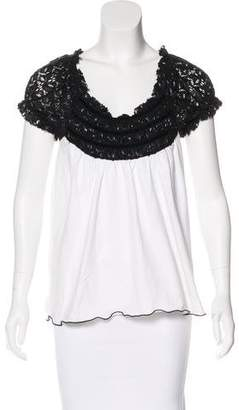 Anna Sui Lace-Accented Knit Top