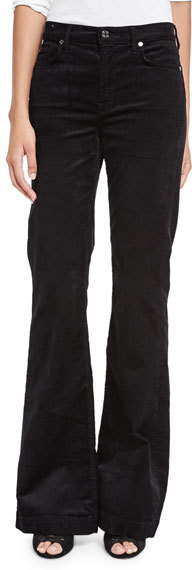 7 For All Mankind 7 For All Mankind Ginger Flare-Leg Corduroy Pants, Black