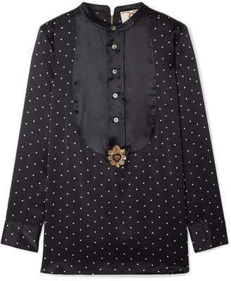 Figue Milagro Embellished Polka-dot Silk-satin Blouse - Midnight blue