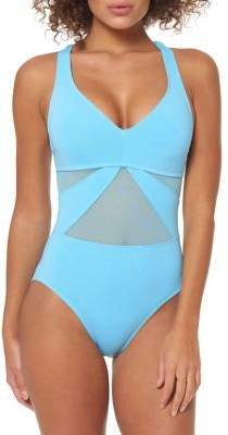with me. Bleu By Rod Beattie Don't Mesh V-Neck Mesh One-Piece Swimsuit