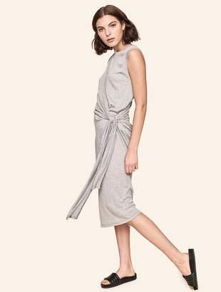 White + Warren Crinkled Gauze Side Tie Drape Dress