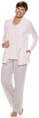 Croft & Barrow Women's 3-piece Cardigan, Tank & Pants Pajama Set
