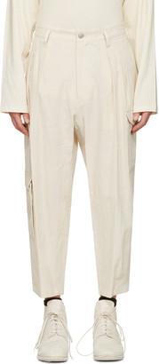 Yohji Yamamoto Ivory Linen Cargo Pants $1,290 thestylecure.com