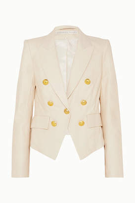 Veronica Beard Cooke Leather Blazer - Ivory