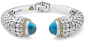 Lagos 18K Gold and Sterling Silver Caviar Color Swiss Blue Topaz Cuff, 14mm