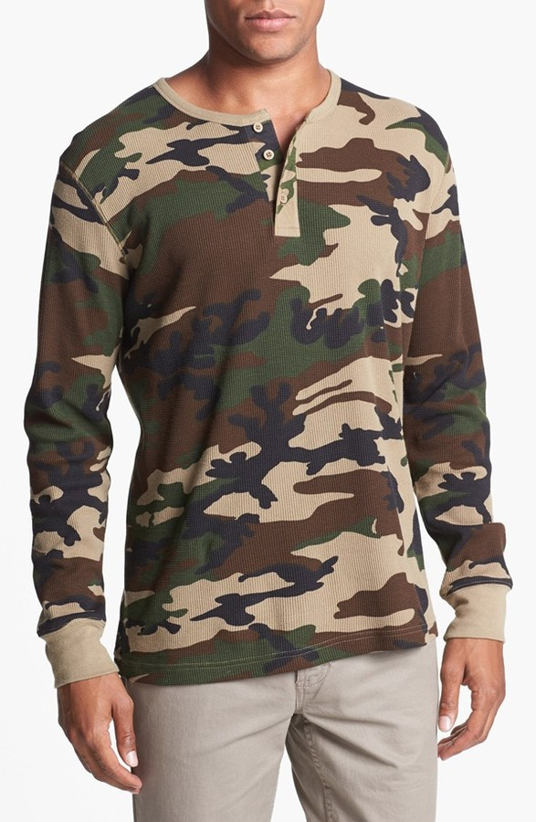 Obey 'Buck' Camo Print Thermal Henley