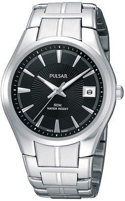 Pulsar Mens Black Dial Stainless Steel Bracelet Watch PXH913