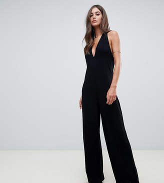 cda9eff53d4c Asos Tall DESIGN Tall halter neck jumpsuit with plunge front