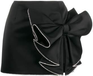 Area satin bow mini skirt
