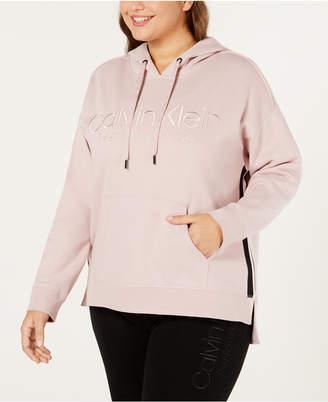 Calvin Klein Plus Size Logo Fleece High-Low Hem Hoodie