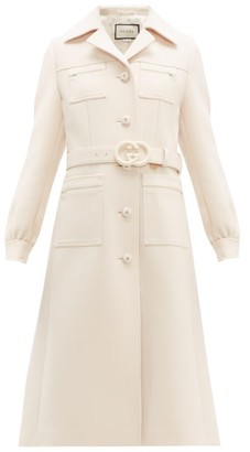 Gucci Gardenia Gg Belt Single Breasted Wool Coat - Womens - Ivory