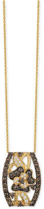 LeVian Le Vian Chocolatier Chocolate and White Diamond Pendant Necklace (1-1/4 ct. t.w.) in 14k Gold