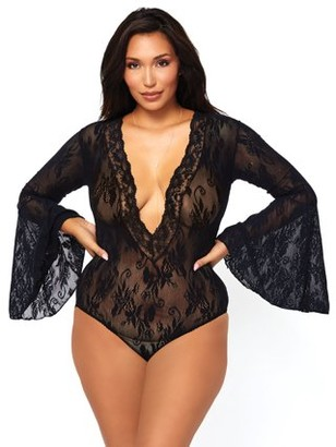 Leg Avenue Women's Stretch Lace Deep-V Bell Sleeve Bodysuit, Black, Plus Size