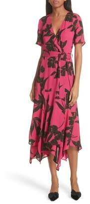 A.L.C. Cora Print Silk Midi Wrap Dress
