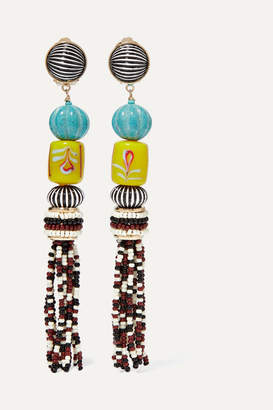 Etro Gold-tone, Enamel, Glass And Resin Clip Earrings - Turquoise