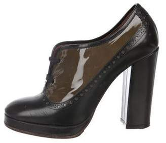 Marc Jacobs Patent Leather Lace-Up Booties